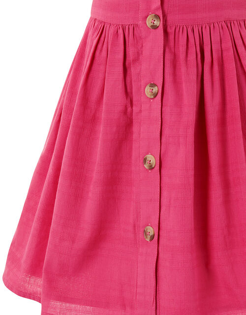 Check Puff Sleeve Dress, Pink (BRIGHT PINK), large