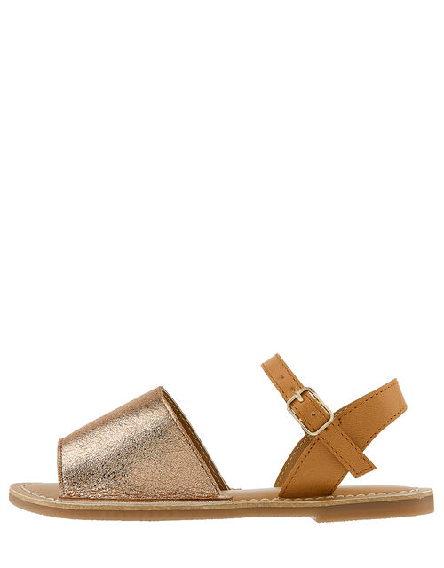 Zeta Metallic Peeptoe Sandals, Gold (ROSE GOLD), large