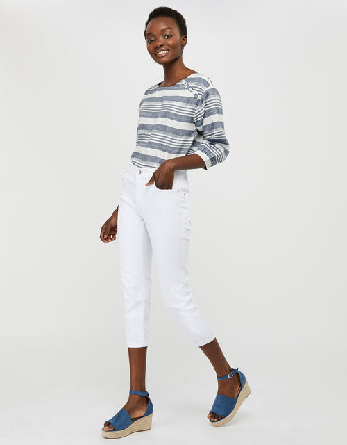 Idabella Cropped Jeans with Organic Cotton, White (WHITE), large