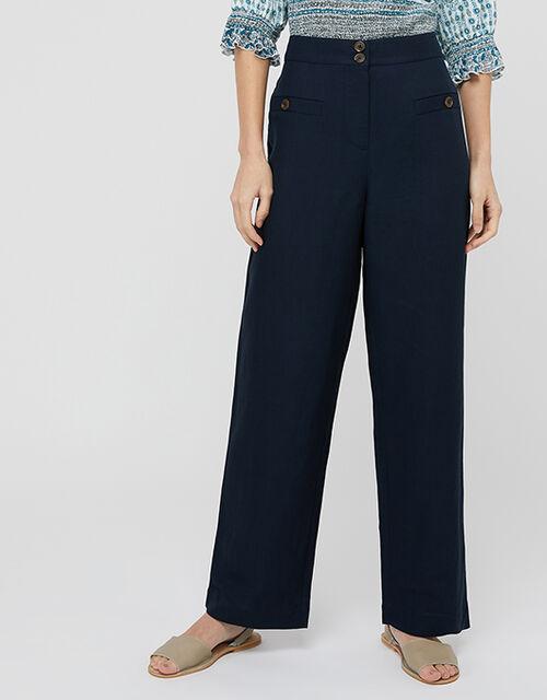 Charlotte Short Length Trousers in Linen Blend, Blue (NAVY), large