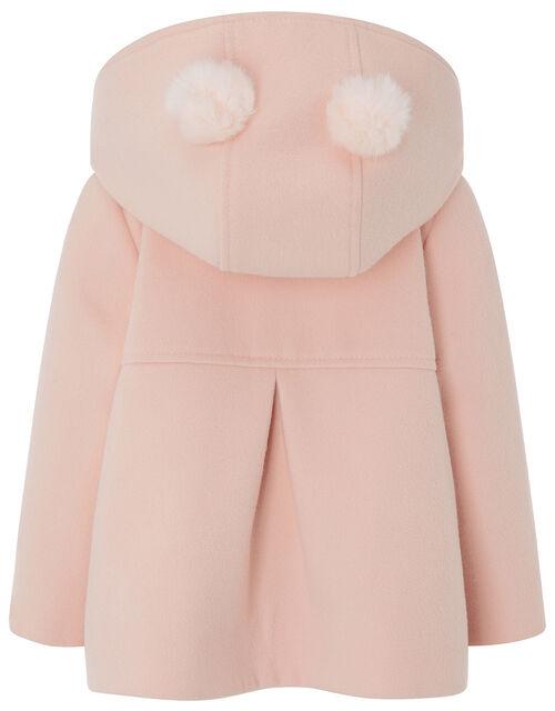 Baby Pom-Pom Hooded Coat, Pink (PALE PINK), large