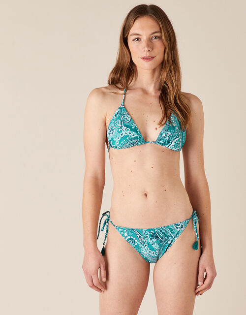 Paisley Bikini Top with Recycled Polyester , Blue (TURQUOISE), large