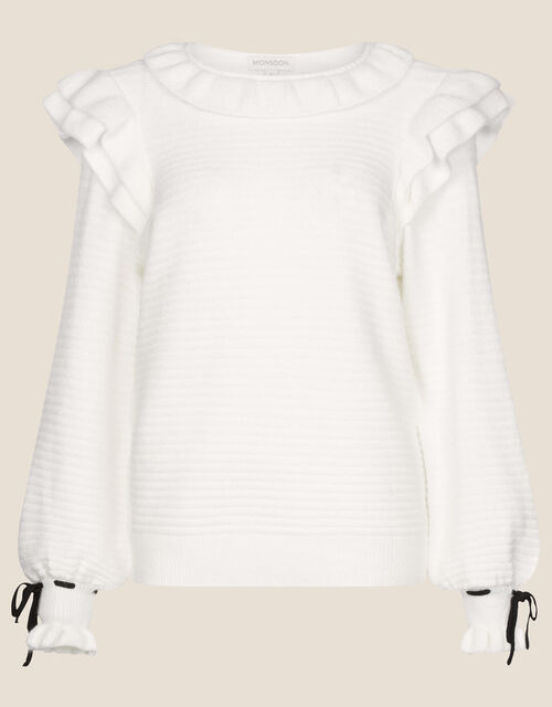 Ruby Ruffle Stitch Jumper with Recycled Fabric, Ivory (IVORY), large