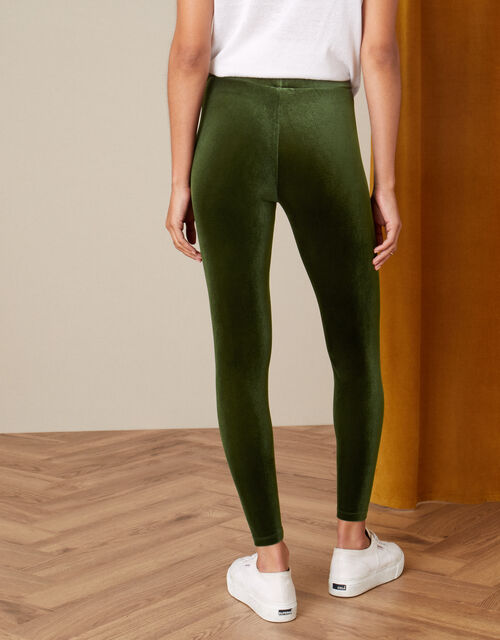 Velvet Leggings, Green (OLIVE), large