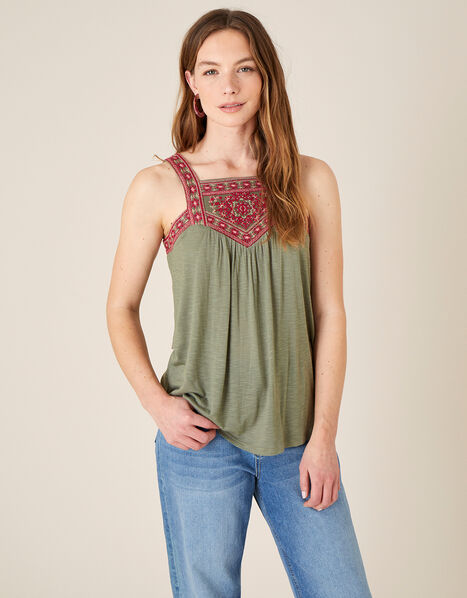 Embroidered Jersey Sleeveless Top Green, Green (KHAKI), large