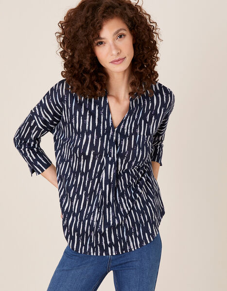 Printed Long Sleeve Top in Pure Linen Blue, Blue (NAVY), large