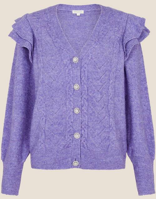 Crystal Button Cable Knit Cardigan, Purple (LILAC), large