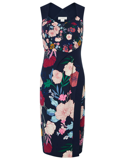 Frances Floral Shift Midi Dress, Blue (NAVY), large