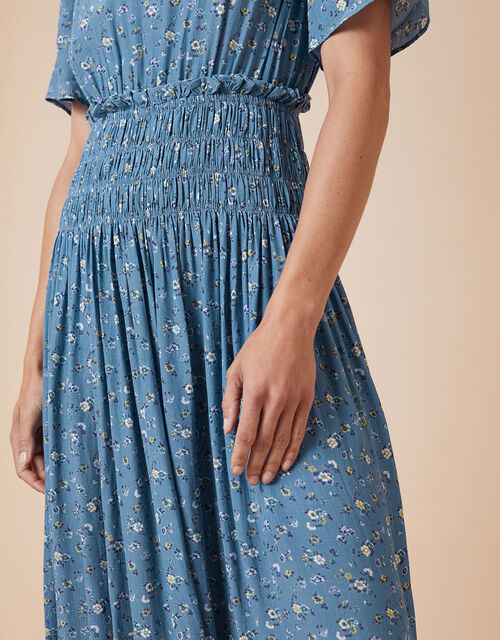 Ditsy Floral Midi Dress with LENZING™ ECOVERO™, Blue (BLUE), large