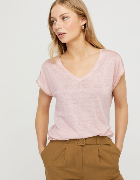 Liza Metallic Stitching T-shirt in Pure Linen Pink, Pink (BLUSH), large
