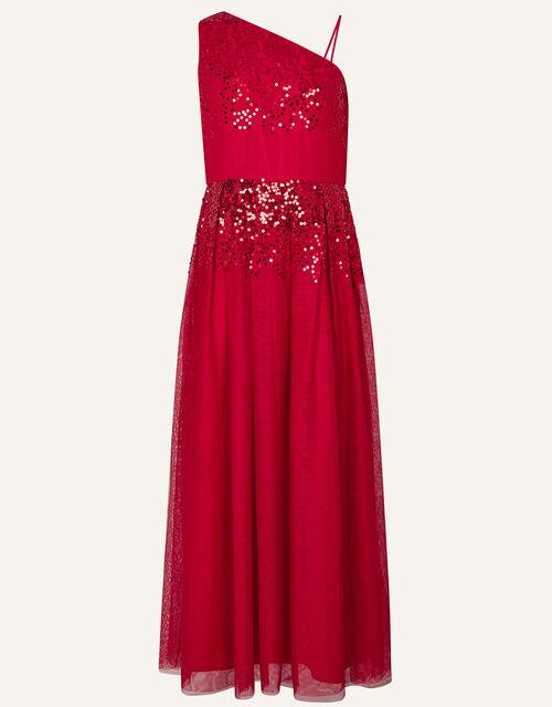 Elish One-Shoulder Prom Dress, Red (RED), large