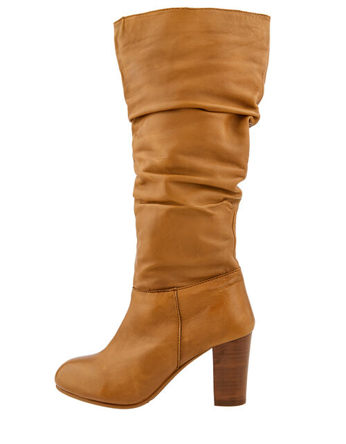 Sophie Leather Slouch Boots, Tan, large