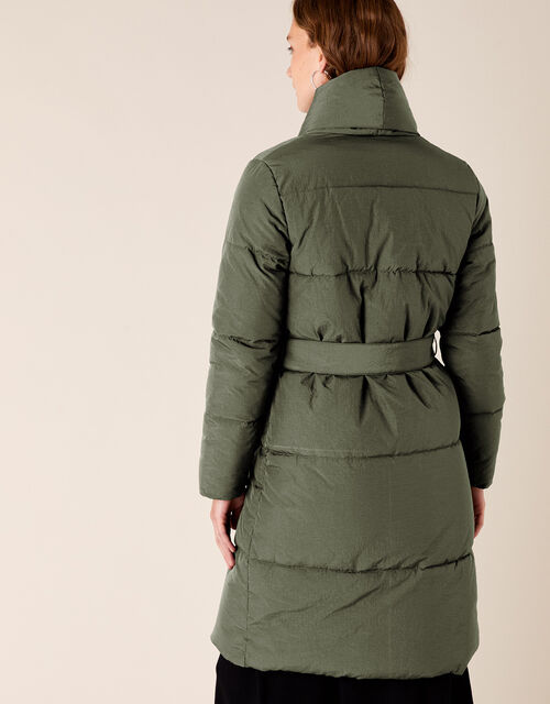 Eddie Long Padded Coat in Recycled Fabric, Green (KHAKI), large