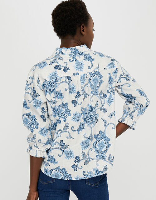 Esther Printed Blouse in Pure Linen, Natural (NATURAL), large