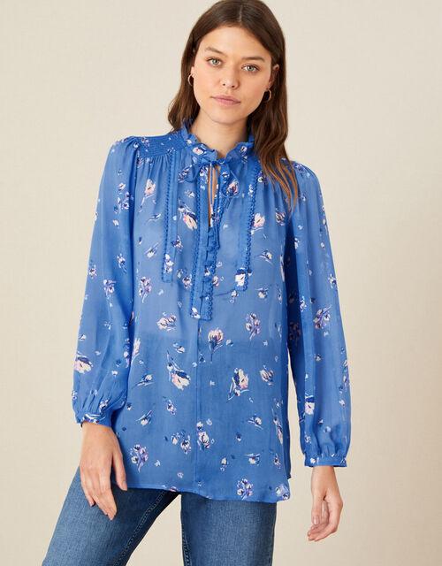 Floral Tie Neck Blouse, Blue (BLUE), large