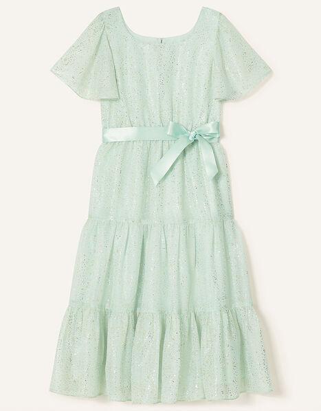 Foil Print Tiered Dress Green, Green (MINT), large