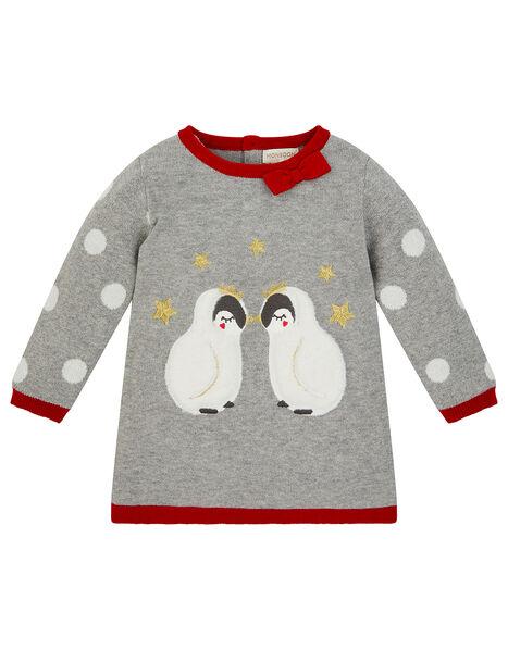 Newborn Baby Penguin Knit Dress Grey, Grey (GREY), large