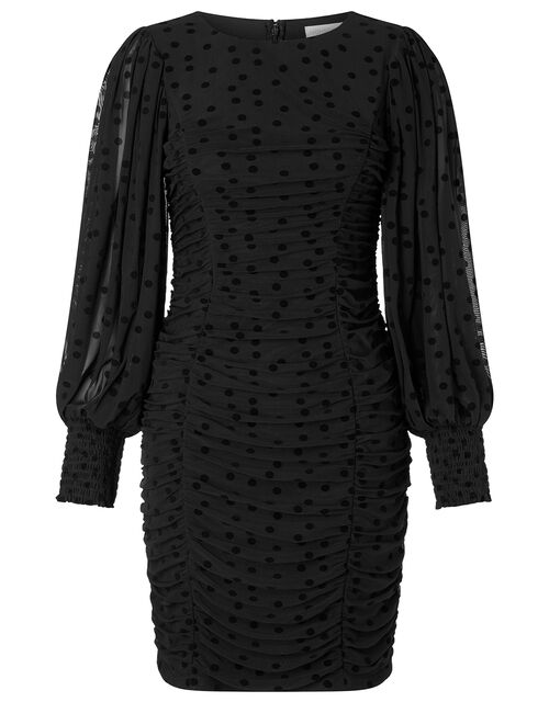 Sophie Spot Stretch Ruched Dress, Black (BLACK), large