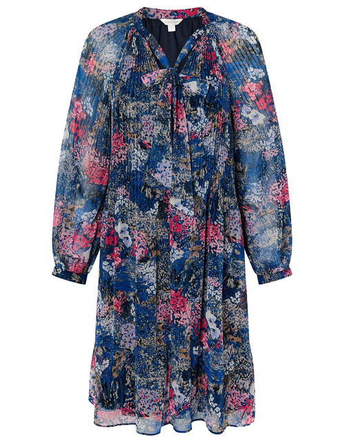 Floral Pleated Short Dress, Blue (NAVY), large