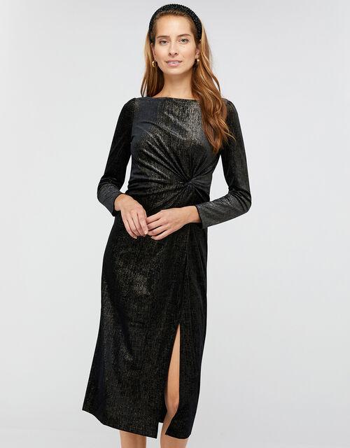 Robyn Foil Print Velvet Midi Dress, Black, large