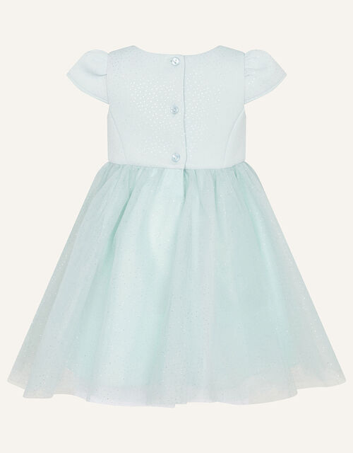 Baby Glitter Scuba and Tulle Dress, Teal (DUCK EGG), large