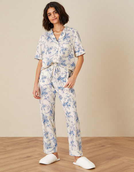 Bird Floral Pyjama Bottoms  Ivory, Ivory (IVORY), large