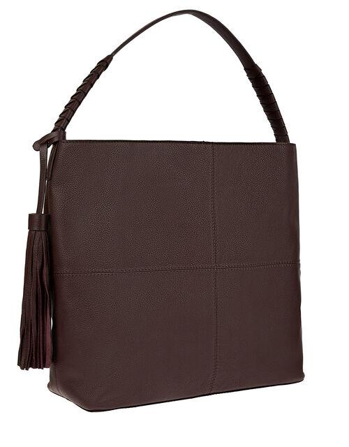 Tassel Hobo Leather Bag, , large