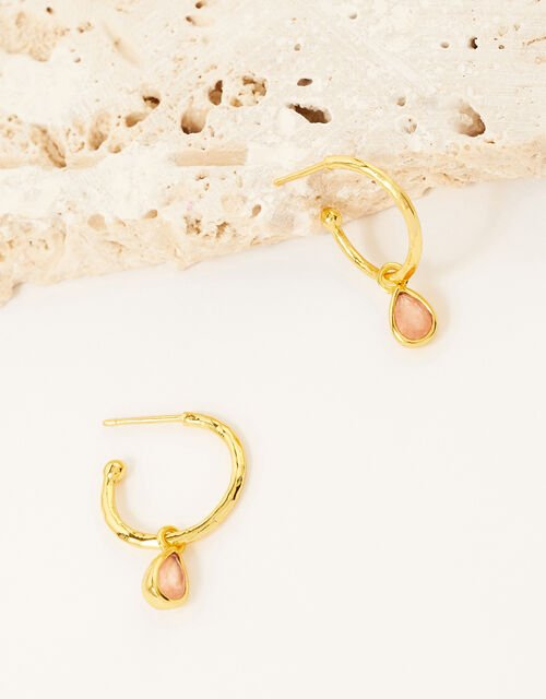 Gold-Plated Stone Charm Hoops, , large