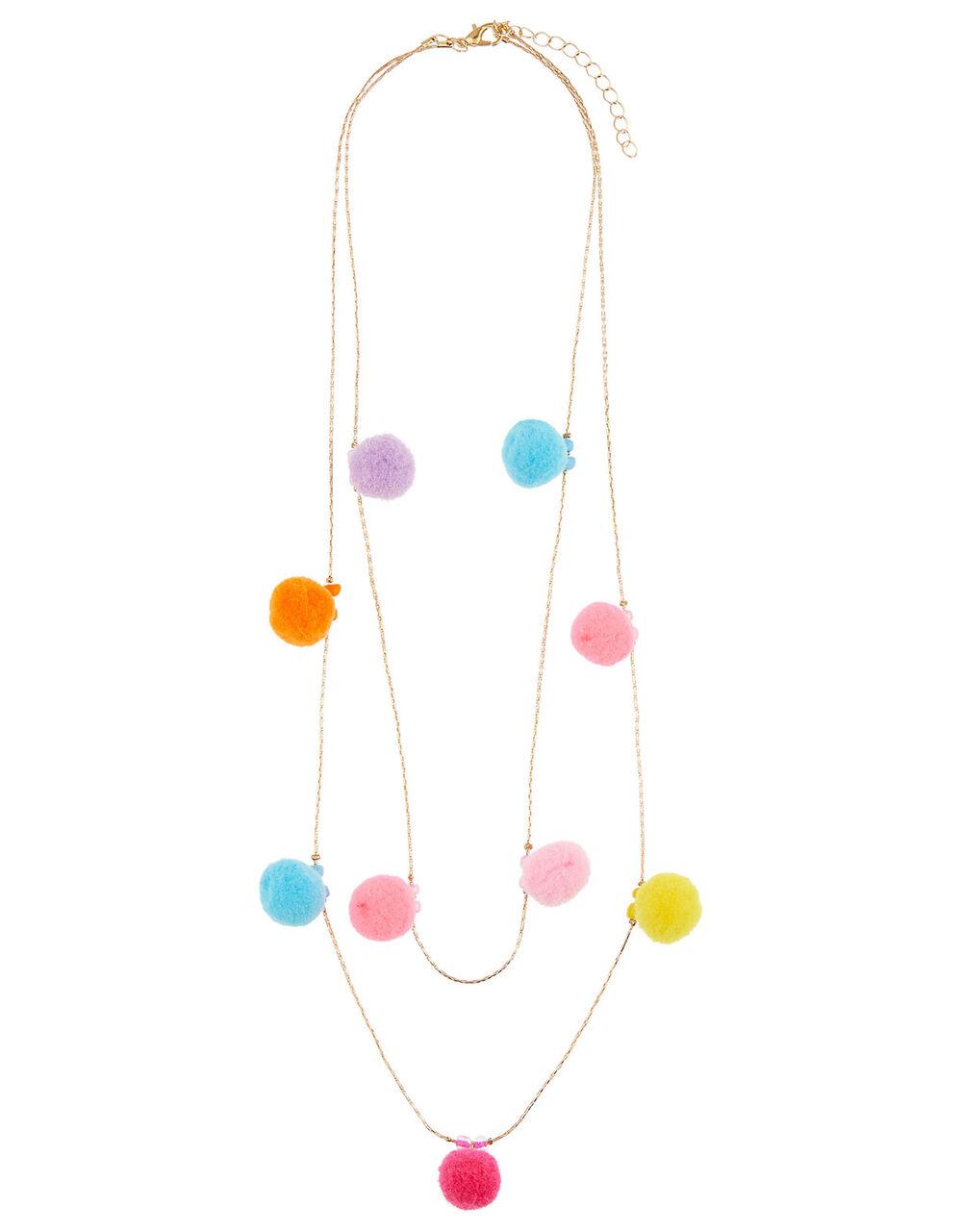 Layered Pom-Pom Necklace, , large