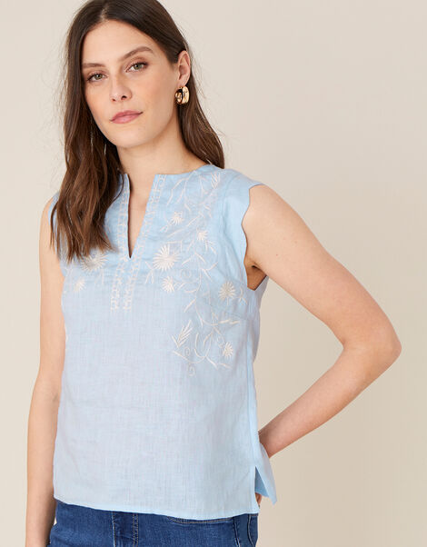 Floral Embroidered Tank Top Blue, Blue (BLUE), large