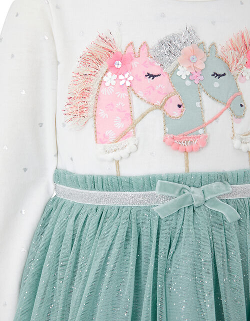 Baby Unicorn Disco Dress, Teal (TEAL), large