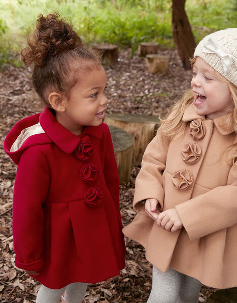 Baby Corsage Hooded Swing Coat Red, Red (RED), large
