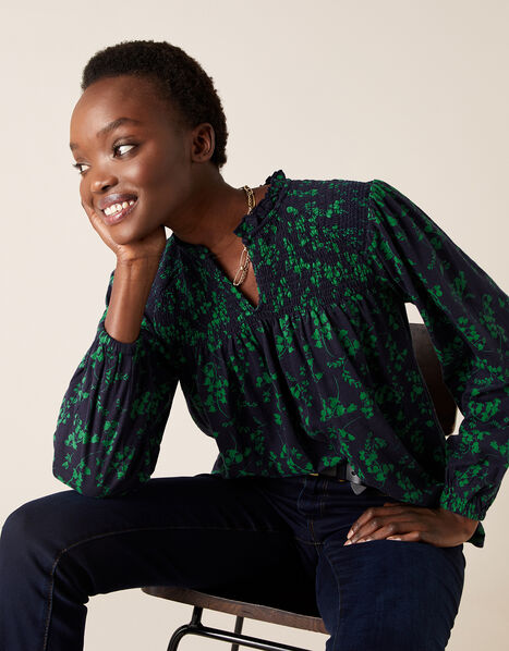 Ava Floral Long Sleeve Top Blue, Blue (NAVY), large