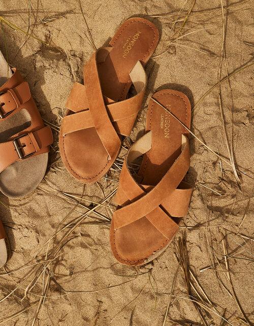 Leather Cross-Over Sliders, Tan (TAN), large