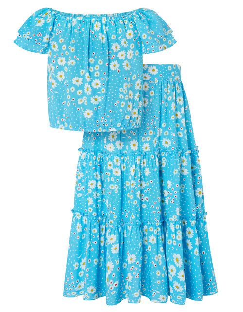 Daisy Top and Skirt Co-Ord Set, Blue (BLUE), large