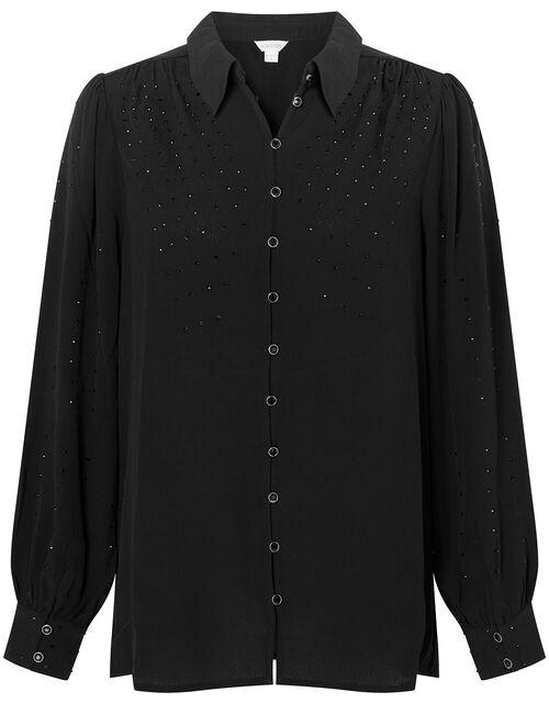 Heat-Seal Gem Shirt with LENZING™ ECOVERO™, Black (BLACK), large