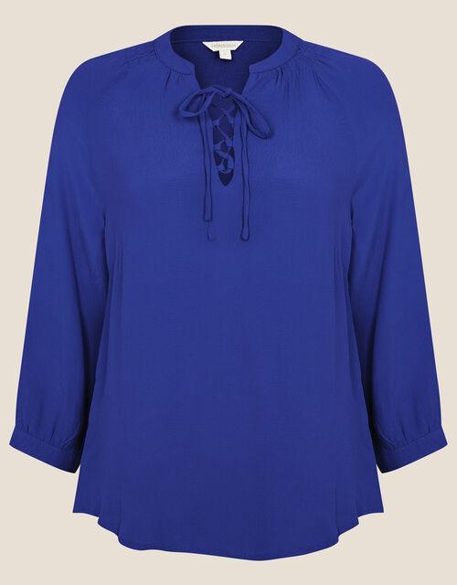 Tie Neck Top with LENZING™ ECOVERO™, Blue (COBALT), large