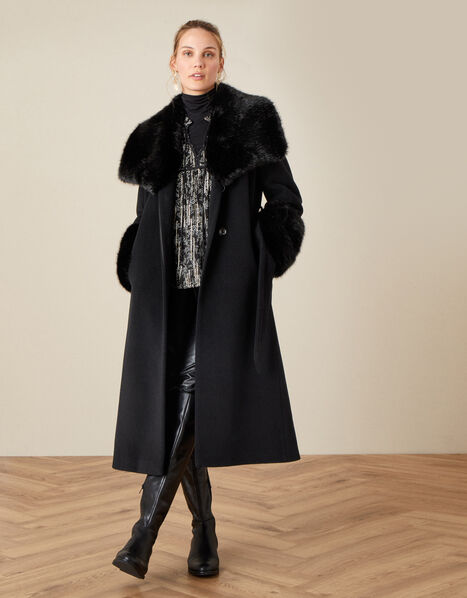 Sadie Faux Fur Trim Wrap Coat Black, Black (BLACK), large
