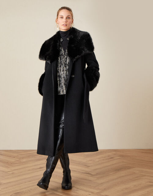 Sadie Faux Fur Trim Wrap Coat, Black (BLACK), large
