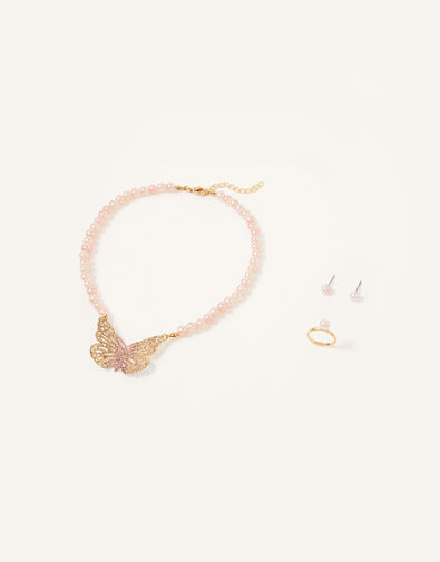 Glitter Butterfly Pearly Jewellery Set, , large