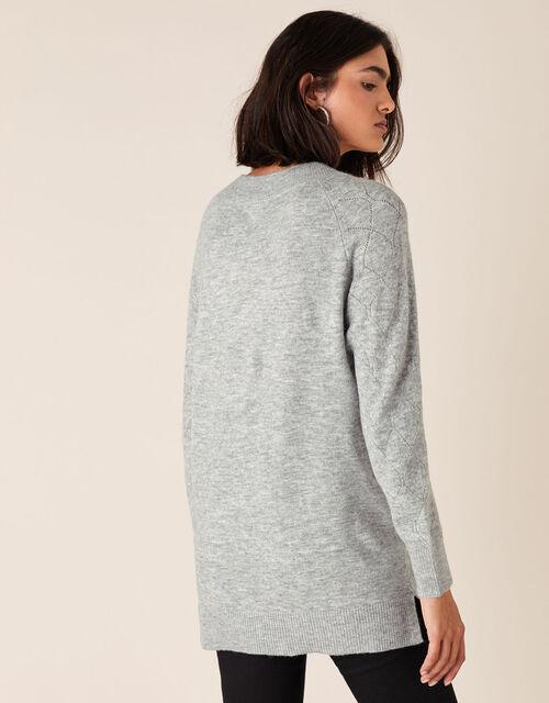 Embellished Pointelle Stitch Jumper, Grey (GREY), large