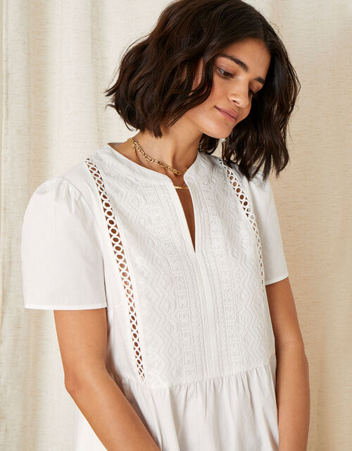 Embroidered Frill Hem Dress, Ivory (IVORY), large