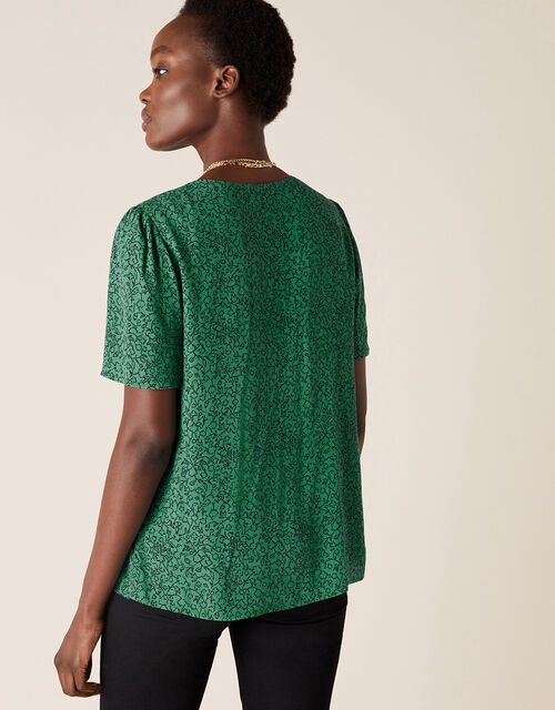 Printed V-Neck Top with LENZING™ ECOVERO™, Green (GREEN), large