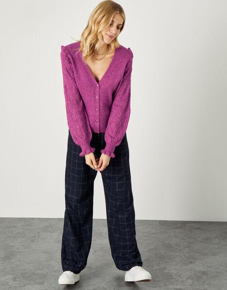 Elvira Pointelle Sleeve Cardigan  Purple, Purple (PURPLE), large
