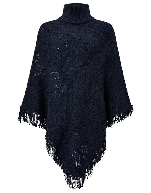 Fringe Trim Chunky Knit Poncho, , large