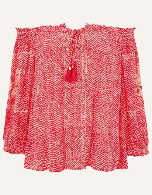 Printed Off-Shoulder Top, Pink (PINK), large