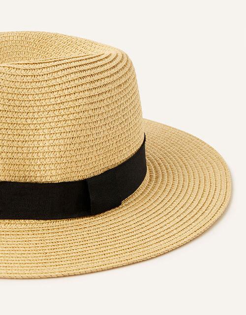 Band Trim Fedora Hat , Natural (NATURAL), large