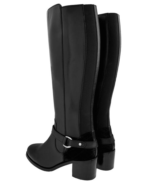 Edie Long Leather Boots, Black (BLACK), large