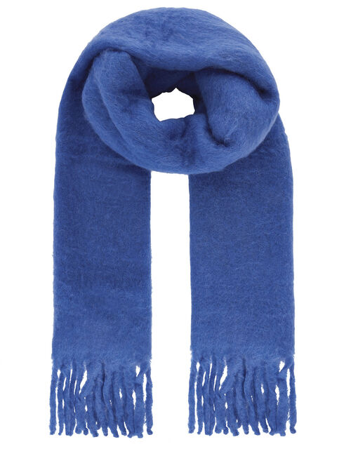 Brushed Tassel Scarf with Wool, , large