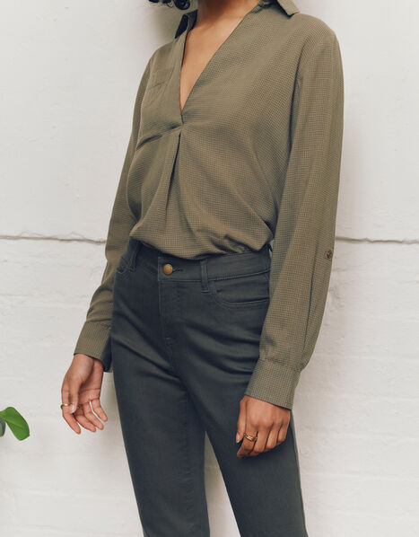 V-Neck Shirt Green, Green (KHAKI), large